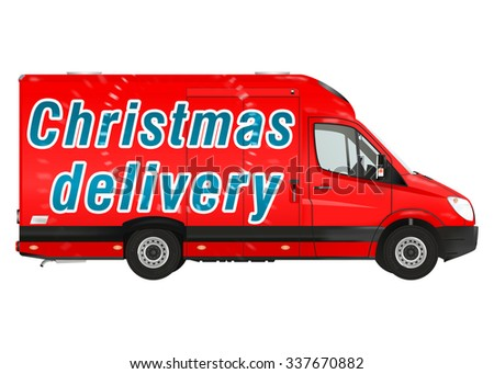 Christmas delivery. Red courier van on the white background. Raster illustration. - stock photo