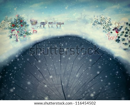 Christmas design  card -  Xmas valley. Holiday landscape with Christmas tree, snowman, Rudolph and reindeer with sledge and presents in snowing forest. Card with copyspace. - stock photo