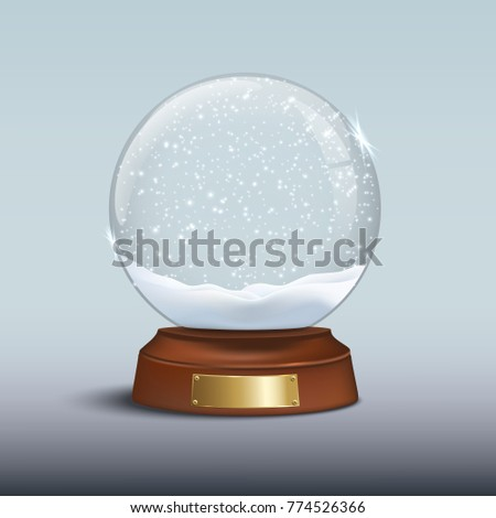 Christmas design element. Snow globe with shiny snow and golden badge on brown wooden base. Raster copy.