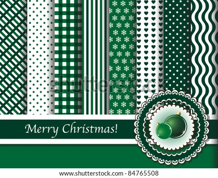 Christmas digital scrapbooking paper swatches in green and white with ribbon and Christmas baubles. Also available in vector format.