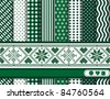 Christmas digital scrapbooking paper swatches in green and white with Scandinavian style ribbon. Also available in vector format. - stock vector