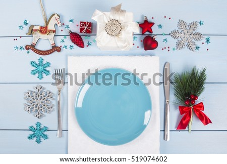 Christmas dinner background with rustic decorations
