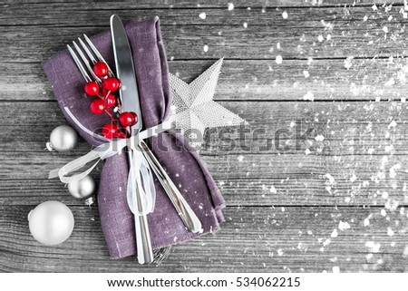 Christmas dinner plate decoration with xmas ornaments on old wood background. Merry christmas card. & Christmas Dinner Plate Decoration Xmas Ornaments Stock Photo ...