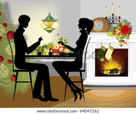 Christmas dinner. Raster version of vector illustration. - stock photo