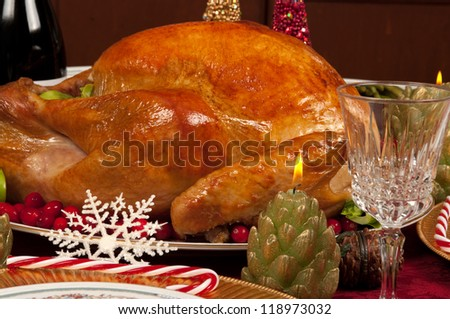 Christmas dinner with delicious turkey - stock photo