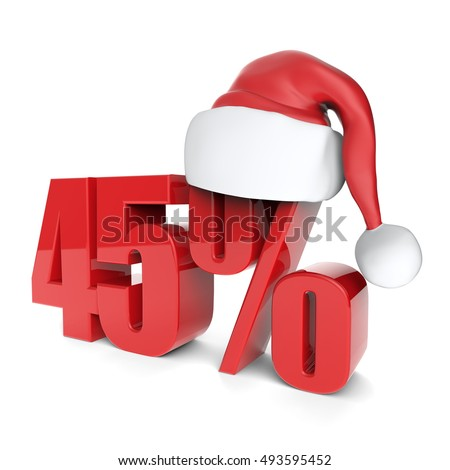 christmas discount sale collection with Santa's hat - 45%, 3D rendering