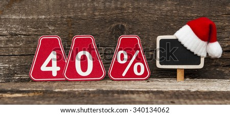 christmas discount with forty percent sign.