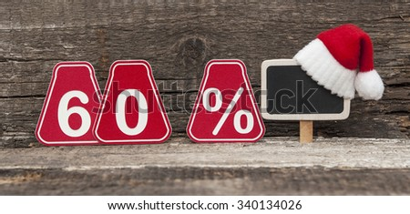 christmas discount with sixty percent  sign