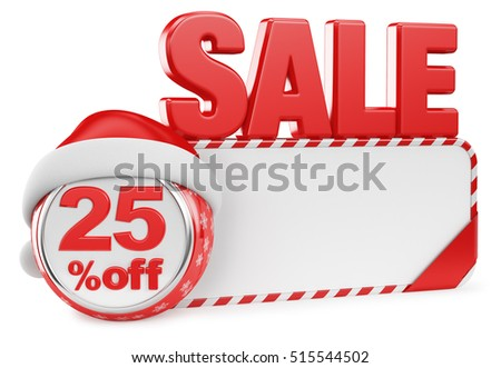 Christmas discounts on a white background. 3d render illustration. Twenty five percent.