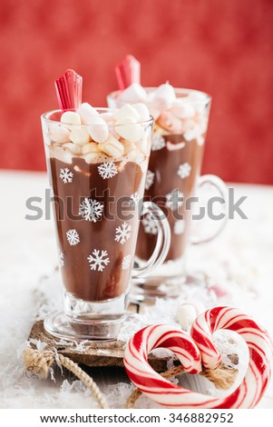 Christmas drink delicious hot chocolate - stock photo