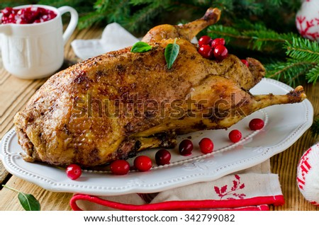 Christmas duck with cranberries - stock photo