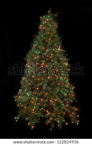 Christmas electric light decorated on Christmas tree against dark black background. - stock photo