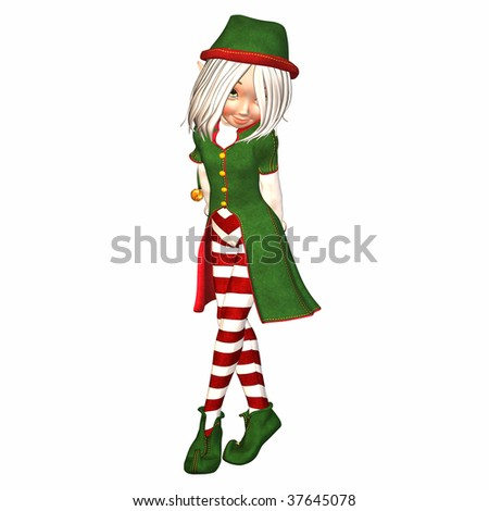 Christmas Elf feeling shy - stock photo