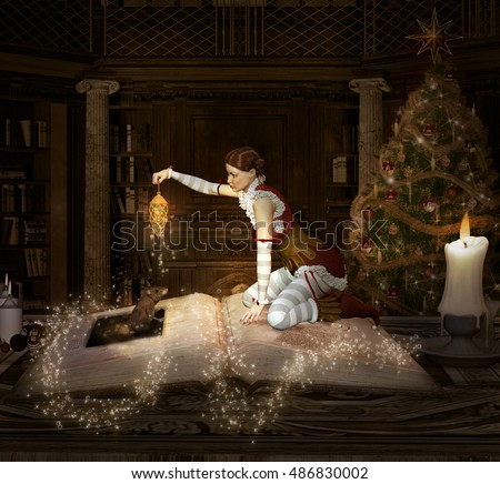 Christmas elf sits on a book with lantern and mouse - 3D illustration