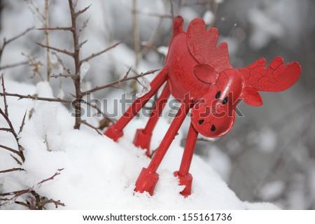 Christmas elk in a winter landscape - stock photo