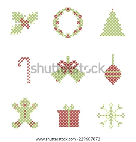 Christmas embroidered elements. Icons. Raster version - stock photo