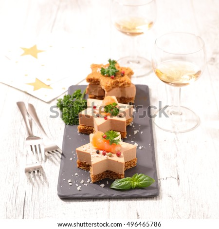 christmas entree with gingerbread and foie gras