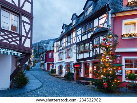 Christmas Eve in Bernkastel-Kues,  Germany. Toned image