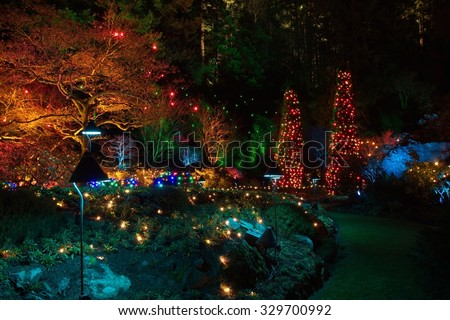 Christmas Eve in  Butchart Gardens - stock photo