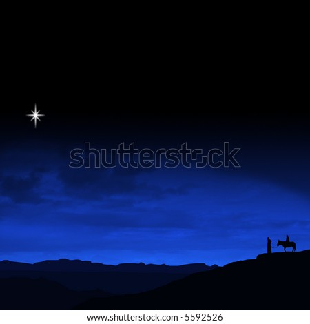 Christmas Eve Journey a religious themed illustration with Mary and Joseph following the star of Bethlehem - stock photo