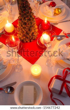 Christmas Eve spirit depicted on a traditional table - stock photo