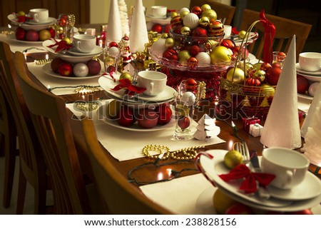 christmas eve table setting with ornaments new year eve table setting & Christmas Table Setting Ornament New Year Stock Photo (Royalty Free ...