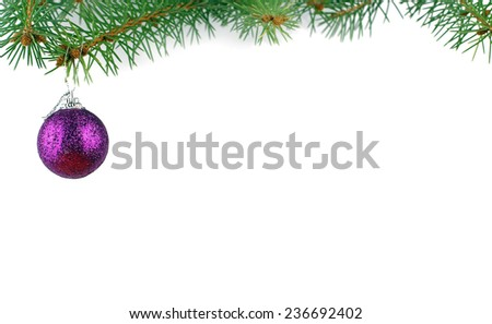 Christmas evergreen spruce tree and glass ball  - stock photo