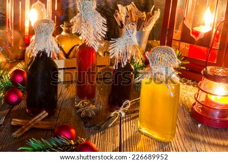 Christmas extracts for baking - stock photo
