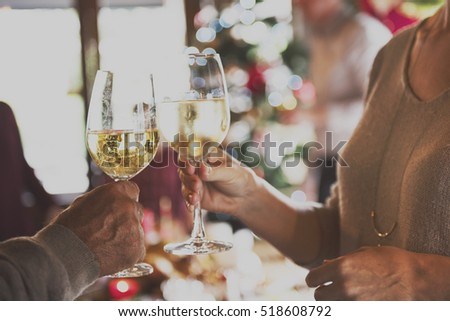 Christmas Family Dinner Table Concept, unfocused