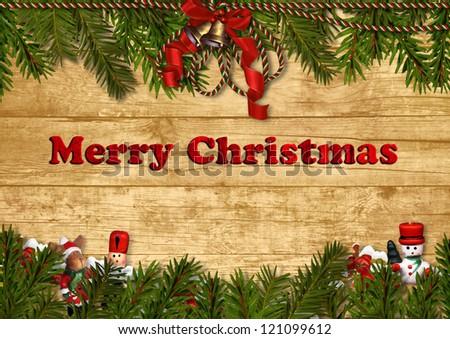Christmas festive background with nutcracker, fir twig, decorations - stock photo