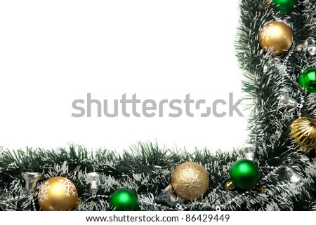 Christmas festive decoration.Christmas card background.. Decoration Border design isolated on white - stock photo