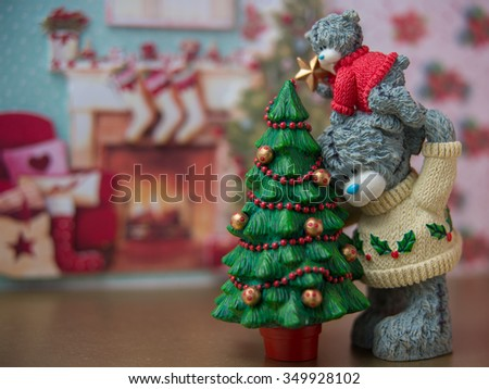 Christmas figurine - bear with cub - decorate a Christmas tree - stock photo