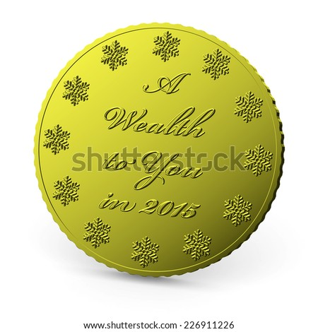 Christmas finance, golden coin with wish of wealth in 2015 year isolated on white background with shadow - stock photo