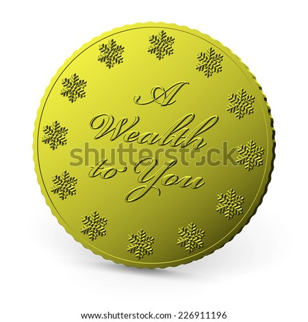 Christmas finance, golden coin with wish of wealth isolated on white background with shadow - stock photo