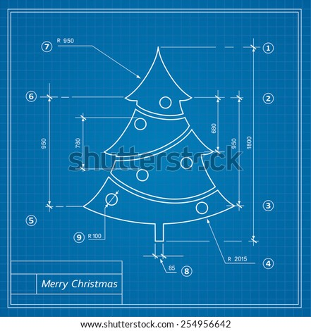 Christmas fir drawing blueprints on a blue background - stock photo