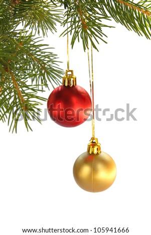 Christmas  fir-tree and balls - stock photo