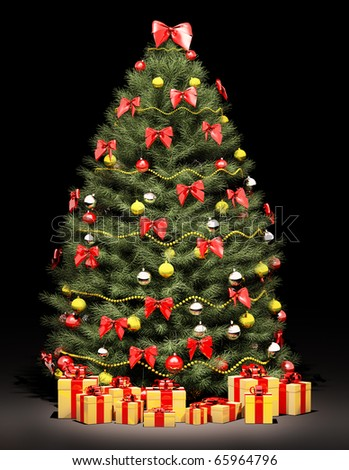 Christmas fir tree decorated with red and golden bows and balls over the black 3d render