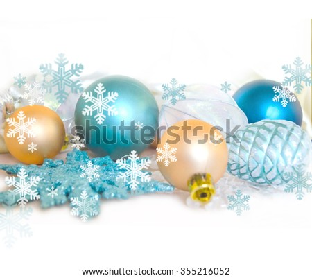 Christmas fir tree decoration isolated on white background. Holiday composition. Festive background. Blank for postcards, business cards, flyers, greeting or invitation cards. - stock photo