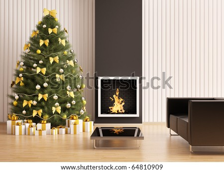 Christmas fir tree in the modern room with fireplace interior 3d render - stock photo