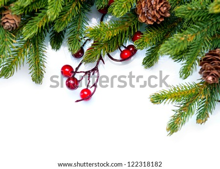 Christmas. Fir tree. Pine tree. Evergreen Border Design. Frame. Isolated on a white background - stock photo