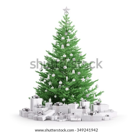 Christmas fir tree with baubles, gifts isolated over white 3d render - stock photo