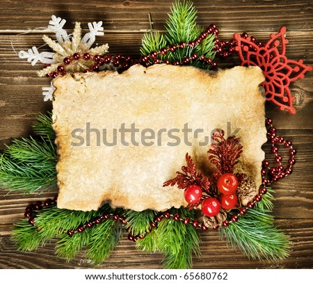 Christmas fir tree with paper and christmas decorations - stock photo