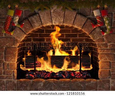 Christmas fireplace. Burning Yule Log in hearth decorated with Christmas stockings. - stock photo