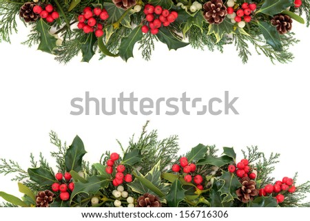Christmas floral border with holly, ivy, mistletoe, pine cones and winter greenery over white background. - stock photo