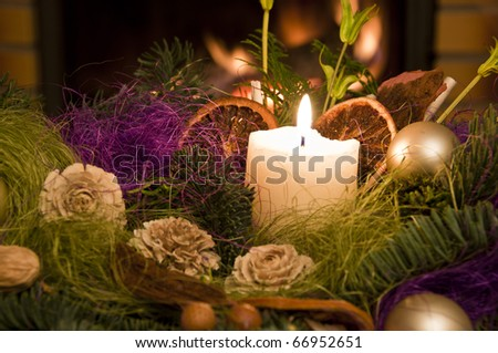 Christmas floral table decoration - stock photo