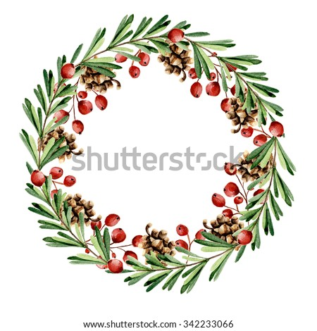 Christmas floral wreath with berries. Watercolor hand drawn - stock photo