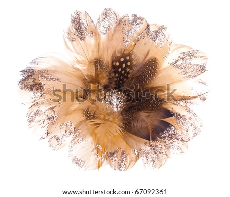 Christmas flower poinsettia made of feathers and rhinestones - stock photo