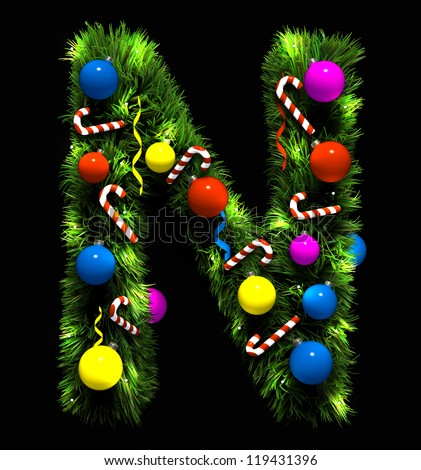 Letter t christmas tree decoration part stock vector for Letter t decoration