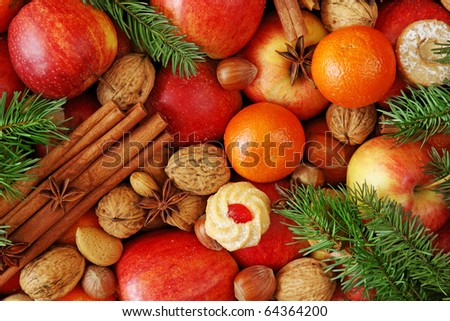 Christmas food background close up - stock photo