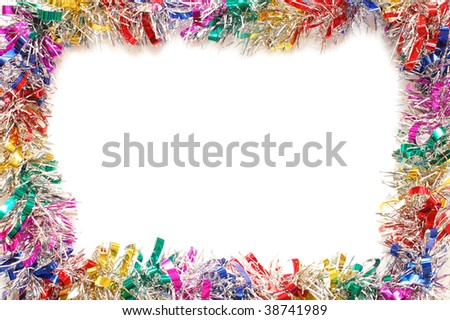 Christmas frame a colour tinsel